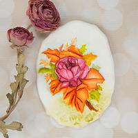 Autumn Wedding Rose Spray Cookie