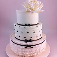 Three Tier Wedding Cake with Ruffles