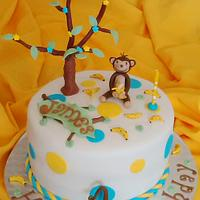 1st Birthday Cute Monkey Cake (Oct 2014)