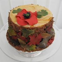 Remembrance Poppy with Autumn Leaves