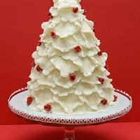 My Rose and Lace Christmas Tree Cake