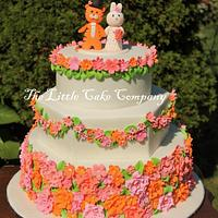 pink, coral and orange wedding cake