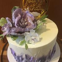Purple wafer paper flower cake