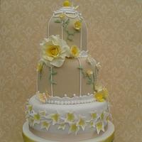 Lemon Tea Rose Bird cage Wedding cake by Karen's Kakery