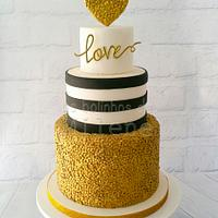 Gold sequins - love cake