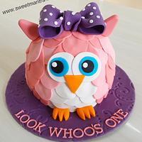 Owl shaped 3D cake for girls 1st birthday