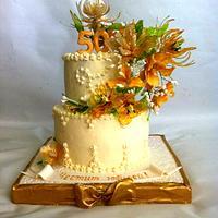 Jubilee cake with gelatin bouquet