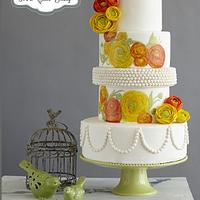 Ranunculus Floral Wedding Cake