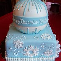 Snowflake/Ornament Birthday Cake