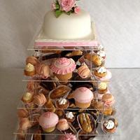 Birthday cake and dessert tower