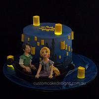 Rapunzel Lantern Scene Cake (Night)