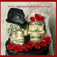 Gothic Skulls Bridal cake topper with piped Henna tattoos