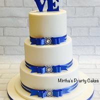 Royal Blue & Ivory wedding cake