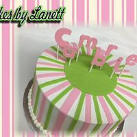 Pink and Lime Baby Shower Cake by lanett