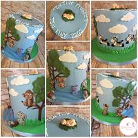 Jungle theme baby shower cake