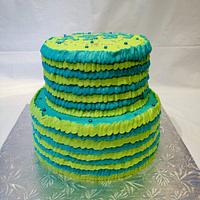 Teal and lime ruffles by Dawn Henderson