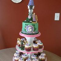 Tangled cake & cupcake tower