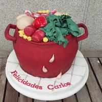 "Galician stew pot pie ""cocido gallego"""