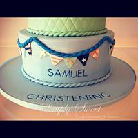 Blue & Green Little Elephant for a Christening by Diana