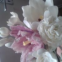 sugar flowers: tulip, parrot tulip, carnation, freesias and roses by kimberly Mason-craig
