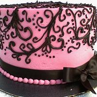 Pink/Black Scroll Cake