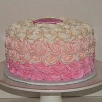 Pretty in Pink Rosette Ombre Cake