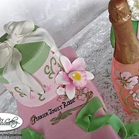 21st Birthday Champagne Bottle and Gift Box Cake by TrulyCustom