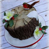 Christmas tree trunk with robin cake