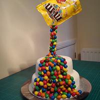 Gravity-defying M&M Cake
