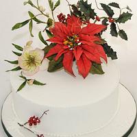 Pointsettia Christmas Cake