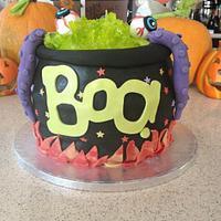 Boo Halloween Cauldron Cake