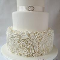 Champagne Ruffled Rose Wedding Cake