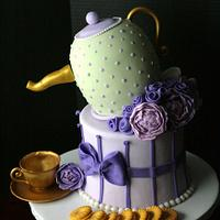 Tea party shower cake