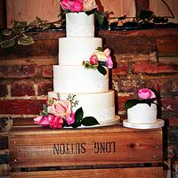 vintage style wedding cake on crates