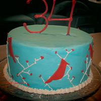 Cardinal Birthday Cake by Sara's Cake House