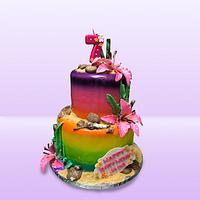 Shells & Sand Birthday Cake