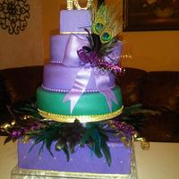 Sweet Sixteen Peacock Color Cake