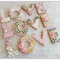 """Love"" Royal Icing Valentine Cookies"