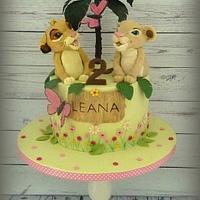 Simba and Nala (Lion King) birthday cake