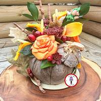 Stone Pumpkin Fall Bouquet