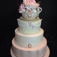 Vintage English Teacup and Saucer Wedding Cake