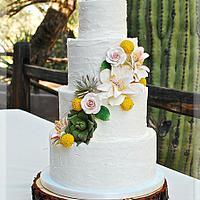 Rustic Buttercream Wedding Cake with Desert Flowers