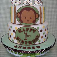 Mod Pod Pop Monkey First Birthday Cake & Smash Cake