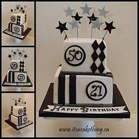 Black & White Combo Birthday Cake