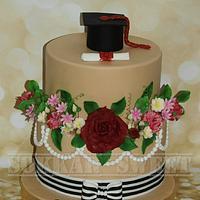 Graduation flower cake