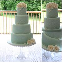 Mint Green & Lace Wedding cake