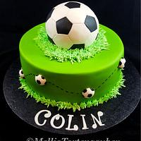 Soccer birthday cake and cupcakes