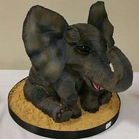 Sculpted 3D Baby Elephant Cake