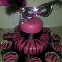 hot pink masquerade cake