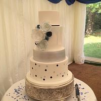 Blue, White and Silver Modern Wedding Cake
